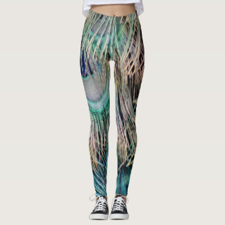 Peacock Feathers Tan Green And blue Leggings