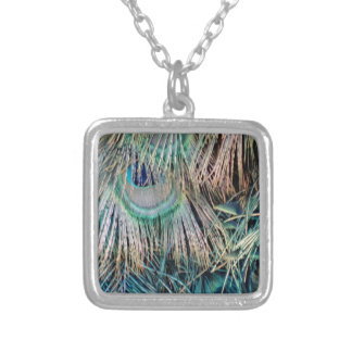 Peacock Feathers Tan Green And blue Silver Plated Necklace