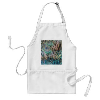 Peacock Feathers Tan Green And blue Standard Apron