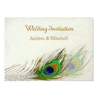 "Peacock feathers Wedding 5"" X 7"" Invitation Card"