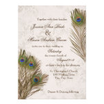 Peacock Feathers Wedding Personalized Announcements