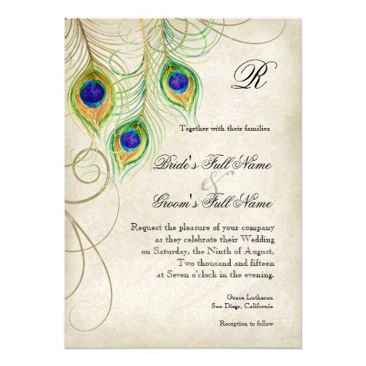Peacock Feathers Wedding Invitation