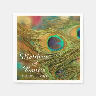 Peacock Feathers Wedding Napkins Paper Napkins