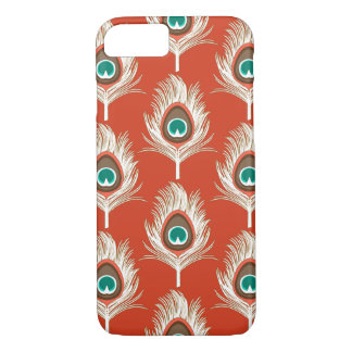 Peacock Feathers, White on Mandarin Orange iPhone 7 Case