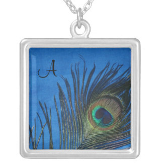 Peacock Feathers with Dark Blue Necklace