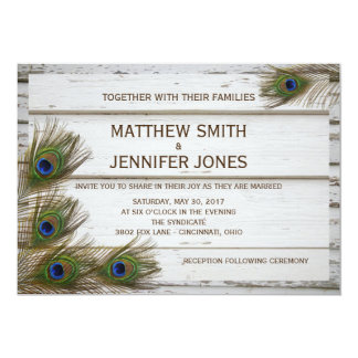 Peacock Feathers & Wood Wedding Invitations