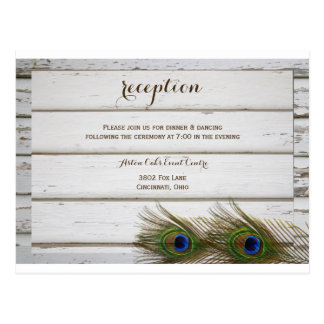 Peacock Feathers & Wood Wedding Reception Card