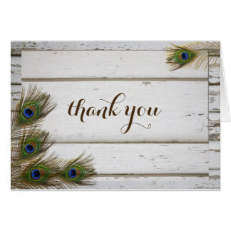 Peacock Feathers & Wood Wedding Thank You Card