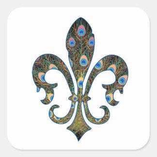 peacock fleur-02 square sticker