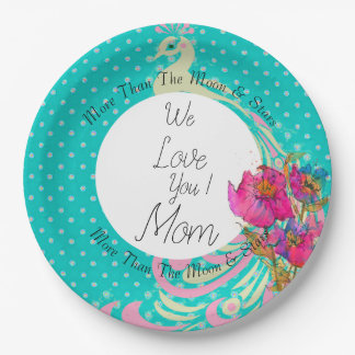 Peacock-Flowers-Celebrations-Monogram-Template Paper Plate
