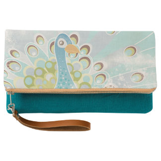 Peacock Fold-over Clutch