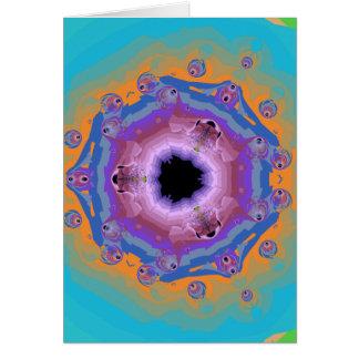 Peacock Fractal Mandala Turquoise Card