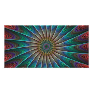 Peacock fractal photo card