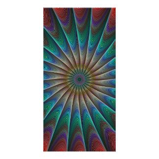 Peacock fractal photo greeting card