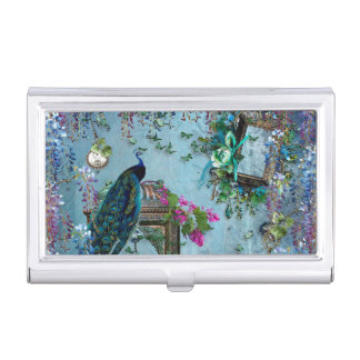 Peacock Garden wisteria blue lavender pink Business Card Holder