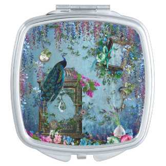 Peacock Garden wisteria blue lavender pink Compact Mirrors