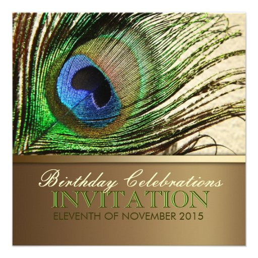 Peacock Goddess Feather Birthday Party Invitation
