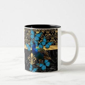 Peacock & gold damask coffee mug