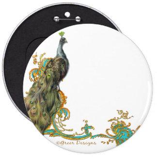 Peacock & Gold Filigree Pinback Button