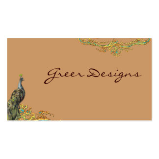 Peacock & Gold Filigree Rococo Business Cards