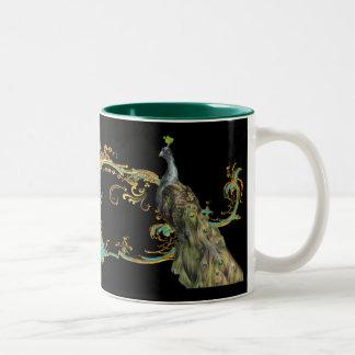 Peacock & Gold Filigree Two-Tone Coffee Mug