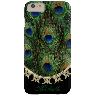 Peacock Gold Frame iPhone 6 Plus Monogram Barely There iPhone 6 Plus Case