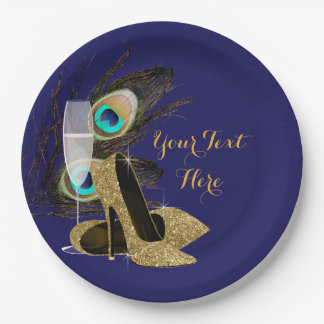 Peacock Gold High Heel Shoes Paper Plates