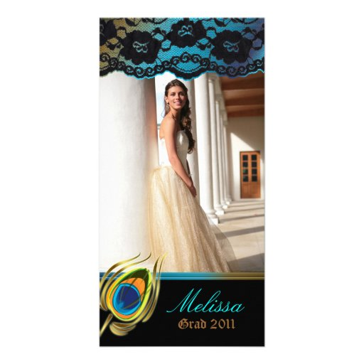Peacock Graduation Photo Card Blue Gold Vertical