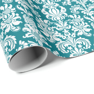 Peacock Green Floral Damasks White Background Wrapping Paper