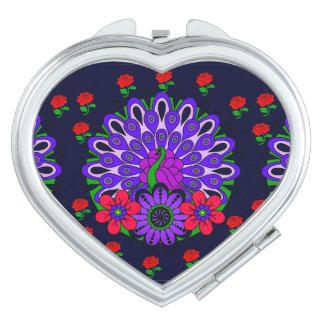 Peacock Heart Compact Mirror