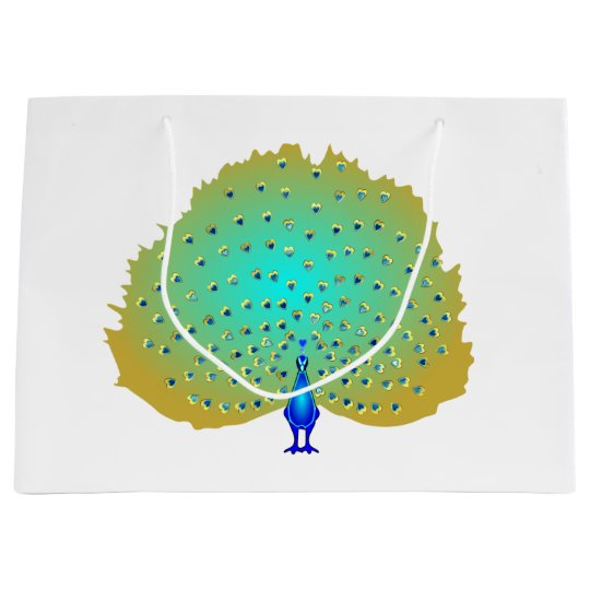 Peacock hearts design large gift bag