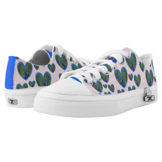 Peacock Hearts Pattern Zipz Low Shoes