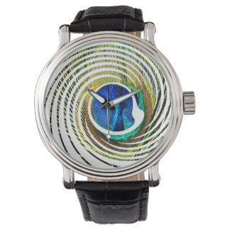 Peacock In A Spiral Design, Mens Watch