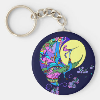 Peacock in Moonlight Keychain