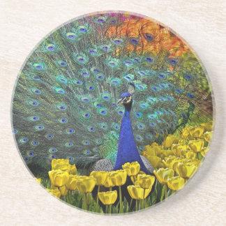 Peacock in Spring Garden #1 Coaster