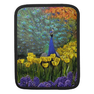 Peacock in Tulips iPad Sleeve