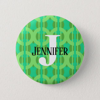 Peacock Inspired Chain Link Pattern 2 Inch Round Button