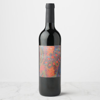 peacock inspired wine label
