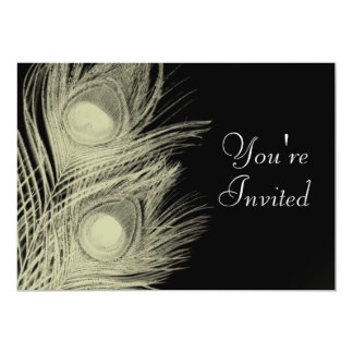 Peacock Invitation - Black and White