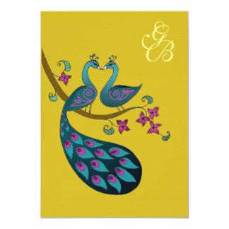 Peacock invitation - mustard