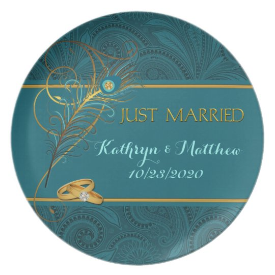 Peacock Just Married Teal and Gold Wedding Plate