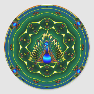 Peacock Kaleidoscope Blue- Green Background Classic Round Sticker
