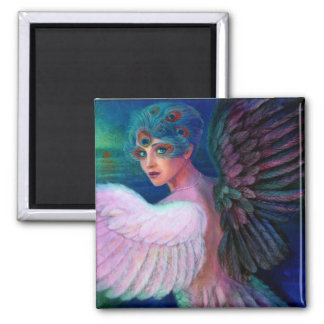 Peacock Lady's Wings of Duality Square Magnet