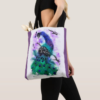 Peacock Linoprint Watercolour Tote Bag