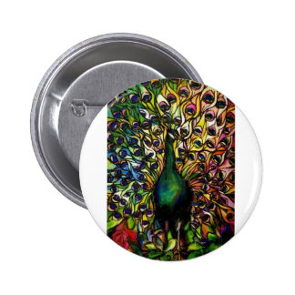 Peacock Majestic 2 Inch Round Button