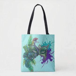 Peacock Mask Tote Bag