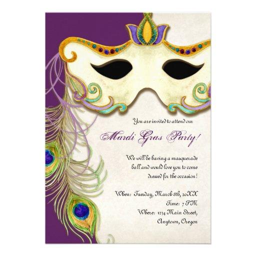Peacock Masquerade Mask Ball - Mardi Gras Party Announcement