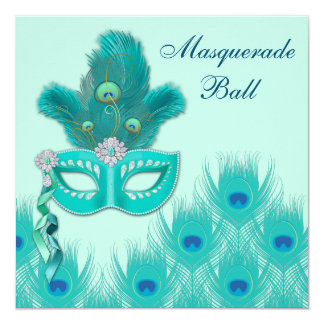 Peacock Masquerade Party Ball Blue Green Aqua Card