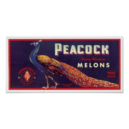 Peacock Melons Label Poster