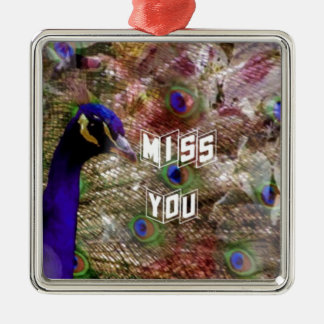 Peacock missing you Silver-Colored square ornament